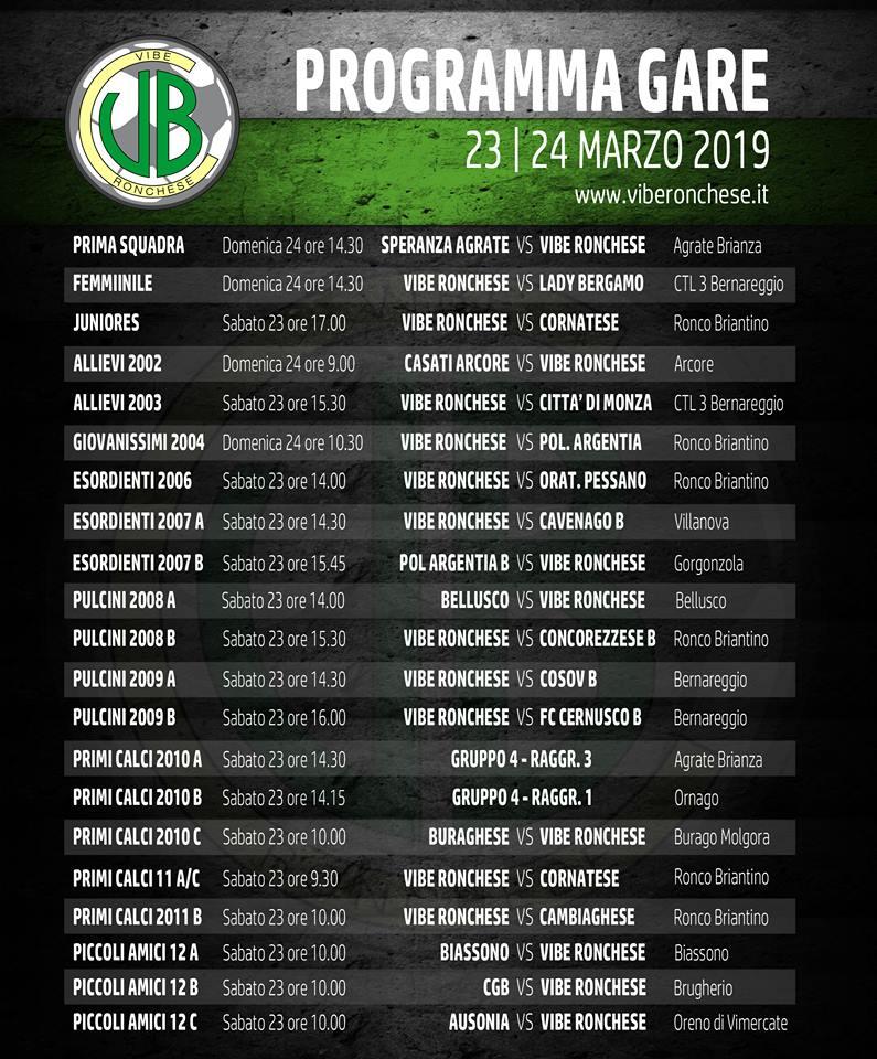 programma gare 23-24 marzo